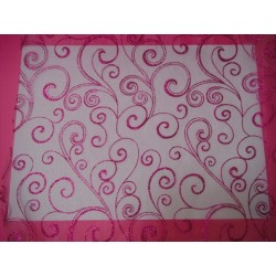 nappage : chemin de table organza chocolat arabesque or/ivoire