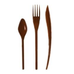 Vaisselle : Couverts box 10 Fourchettes/couteaux/cuillères chocolat