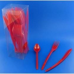 Vaisselle : Couverts box 10 fourchettes/couteaux/cuillères rouge