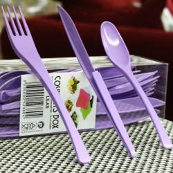 Vaisselle : Couverts box 10 Fourchettes/couteaux/cuillères lilas