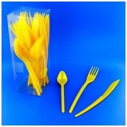 Vaisselle : couverts box 10 fourchettes/couteaux/cuillères jaune