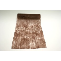 nappage : chemin de table 10mx30cm chocolat et fils lurex or