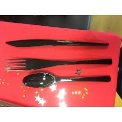 Vaisselle : Couverts box 10 fourchettes/couteaux/cuillères noirs