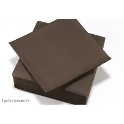 50 serviettes tendance cocktail 25x25cm chocolat