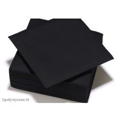 50 serviettes tendance cocktail 25x25cm noir