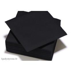 50 serviettes tendance cocktail 25x25cm noir