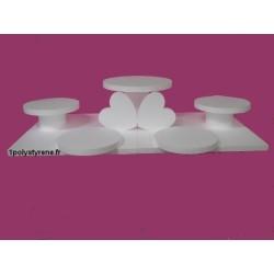 plateau ronds 5 gâteaux et 2 coeurs (1 en 40 cm et 4 en 30 cm)