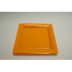 vaisselle : 12 assiettes carrées vaisselle : 16.5 cm orange (mandarine)
