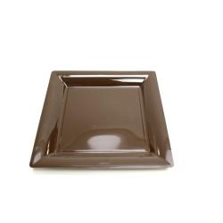 vaisselle : 12 assiettes carrées 16.5 cm chocolat
