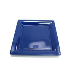 vaisselle : 12 assiettes carrées 16.5 cm bleu marine