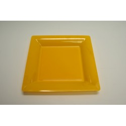 vaisselle : 12 assiettes carrées vaisselle : 16.5 cm jaune