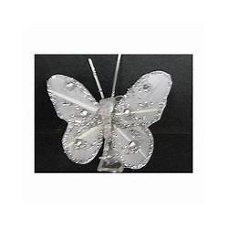 4 Papillons sur pince à linge  gris argenté - AD 75