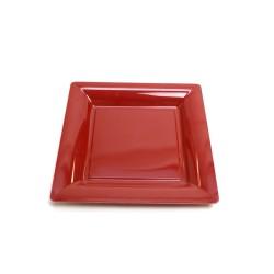 vaisselle : 12 assiettes carrées 16.5 cm bordeaux