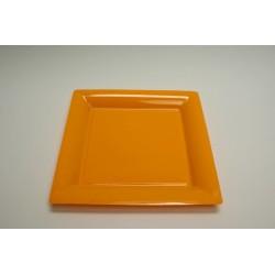 vaisselle : 12 assiettes carrées 21.5 cm orange (mandarine)