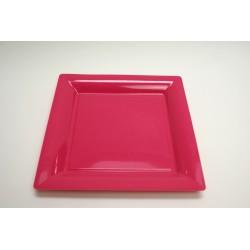 vaisselle : 12 assiettes carrées 21.5 cm fuchsia