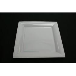 vaisselle : 12 assiettes carrées 21.5 cm blanche