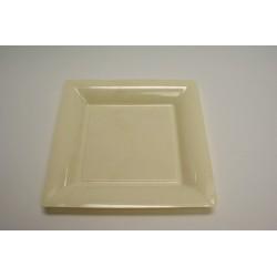 vaisselle : 12 assiettes carrées 21.5 cm ivoire