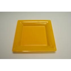 vaisselle : 12 assiettes carrées 21.5 cm jaune