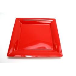 vaisselle : 12 assiettes carrées 21.5 cm rouge